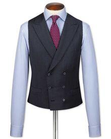British-Serge Luxusanzug Weste in Blau mit Hahnentrittmuster
