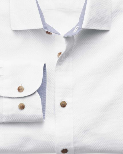 Slim fit white washed textured shirt