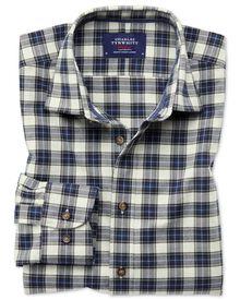 Chemise argent et bleue à carreaux en tissu écossais bruyère slim fit