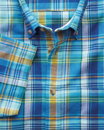 Classic Fit Kurzarmhemd in Grün und Blau mit Karos