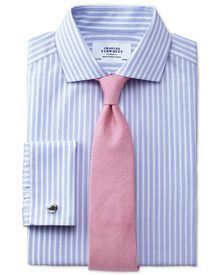 Slim fit spread collar non iron stripe white and sky blue shirt