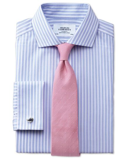 Slim fit spread collar non-iron stripe white and sky blue shirt