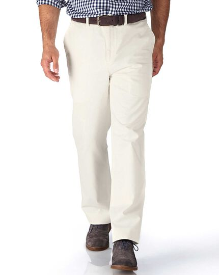White classic fit flat front weekend chinos