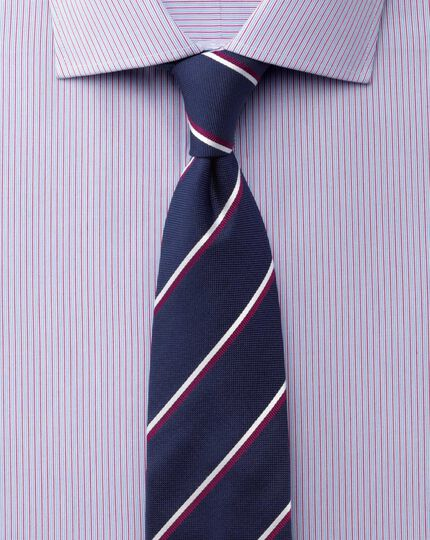 Slim fit semi-cutaway collar stretch stripe blue and red shirt