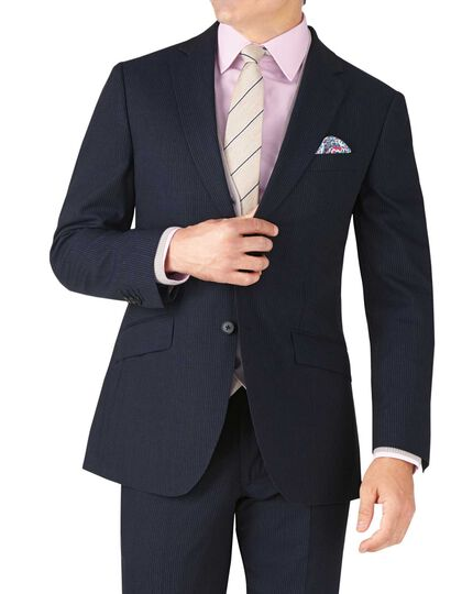 Navy stripe slim fit lightweight business suit jacket