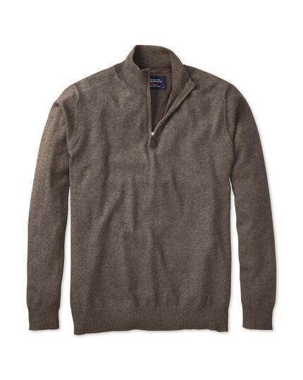 Brown cotton cashmere zip neck sweater