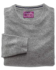 Silver cashmere crew neck sweater
