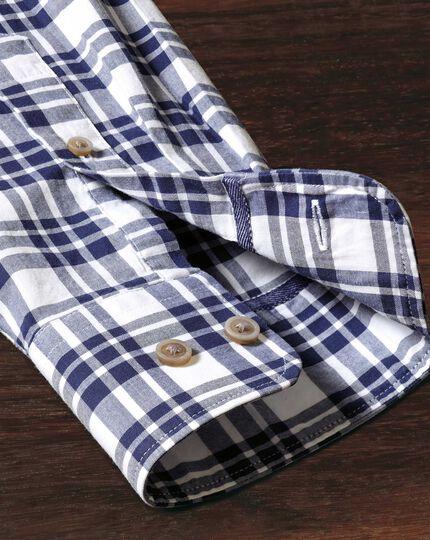 Classic fit button-down poplin navy blue check shirt