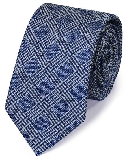 Klassische Krawatte aus Woll-Mix in Königsblau mit Sprenkeln und Prince-of-Wales-Karos