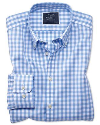 Bügelfreies Extra Slim Fit Popeline-Hemd in Himmelblau mit Gingham-Karos