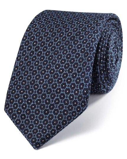 Indigo navy and blue wool luxury Italian geometric tie