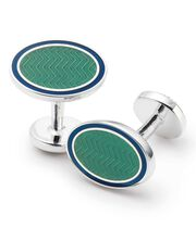 Green wave oval enamel cuff links