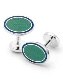 Green wave oval enamel cufflinks