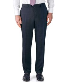 Airforce blue classic fit end-on-end business suit pants