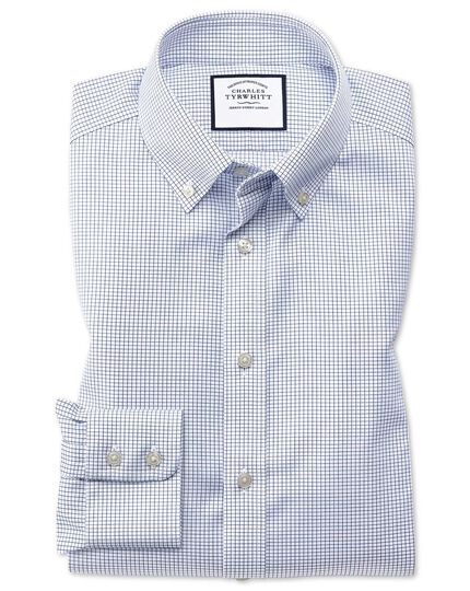 Classic fit button-down non-iron twill grid check navy shirt