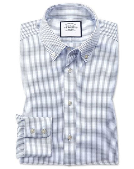 Extra slim fit button-down non-iron twill grid check navy shirt