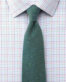 Classic fit non-iron multi check green shirt