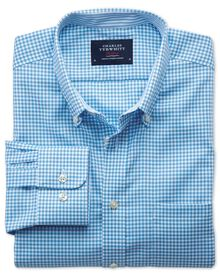 Bügelfreies Extra Slim Fit Oxfordhemd aus Chambray in blau mit Gingham-Karos