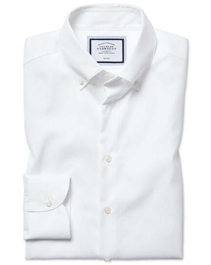 Bügelfreies Extra Slim Fit Business-Casual Hemd mit Button-down Kragen in Weiß