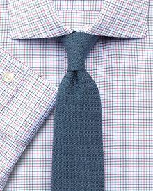Slim fit non-iron spread small grid multi shirt