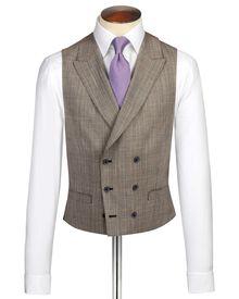 Beige British Panama luxury check suit waistcoat