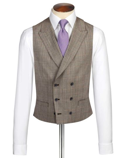 Beige British Panama luxury check suit vest