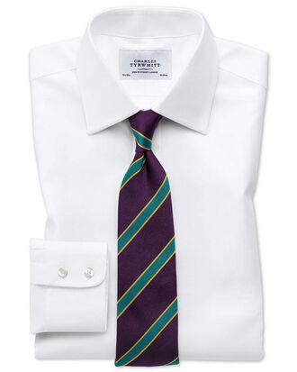 Slim Fit Hemd aus ägyptischer Baumwolle und Cavalry-Twill in Weiß