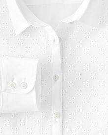 Slim Fit Bluse aus Baumwolle in weiß mit Lochstickerei