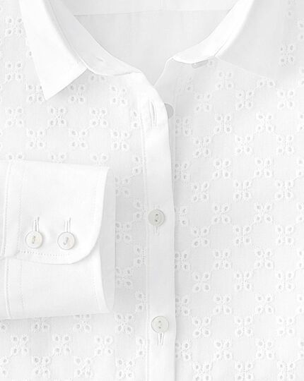 Women's semi-fitted cotton broderie anglais white shirt