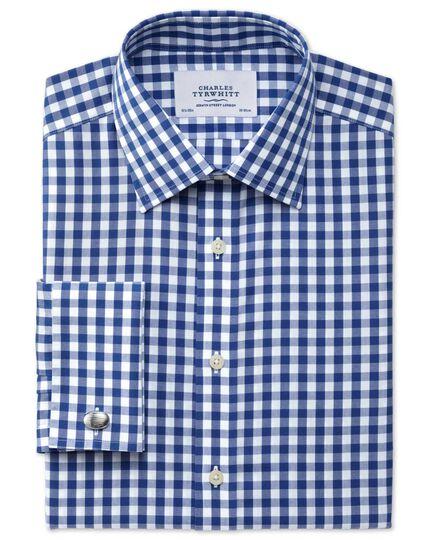 Slim fit non-iron gingham navy shirt