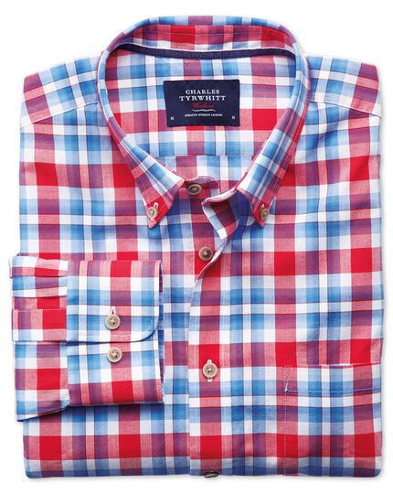 Classic fit poplin sky blue and red check shirt