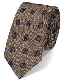 Beige silk mix printed Donegal luxury tie