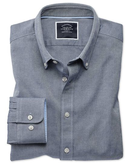 Extra slim fit button-down washed Oxford plain indigo blue shirt