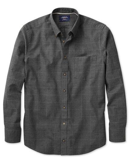 Slim fit dark grey check tweed look shirt