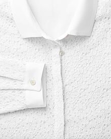 Women's semi fitted corded lace white shirt
