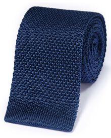 Klassische Strickkrawatte aus Seide in Königsblau