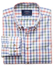 Classic fit non-iron poplin green and orange check shirt