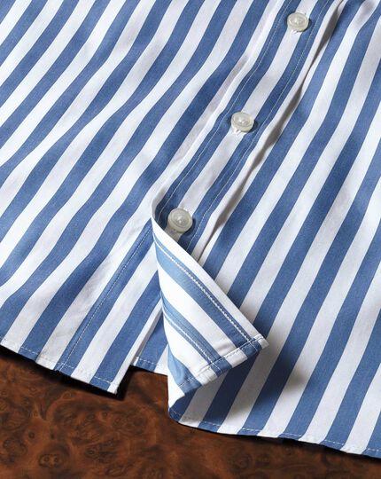 Slim fit semi-cutaway collar Egyptian cotton stripe royal blue shirt