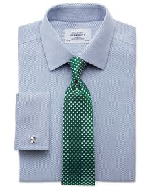 Extra slim fit non iron imperial weave blue shirt