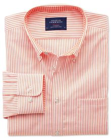 Classic fit non-iron Oxford orange bengal stripe shirt