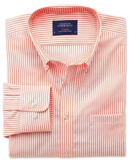 Slim fit non-iron Oxford orange bengal stripe shirt