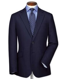 Classic fit navy linen jacket