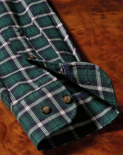 Classic Fit Hemd in Marineblau und Grün mit Meliertem Schottenkaro