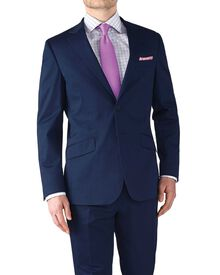 Navy slim fit Italian cotton business suit jacket
