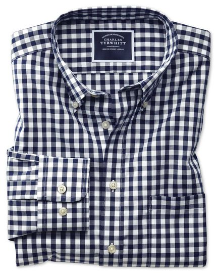 Slim fit non-iron poplin navy check shirt