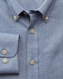 Slim fit herringbone plain blue shirt