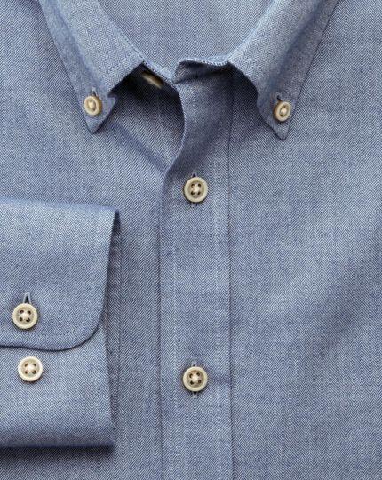 Slim fit blue herringbone shirt