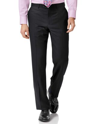 Black classic fit twill business suit trousers