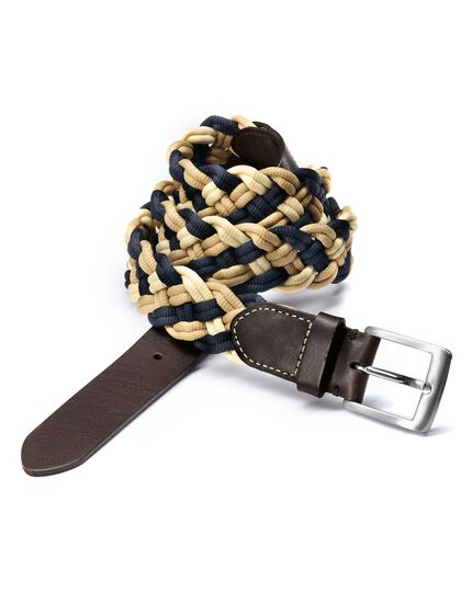 Navy multi plaited belt