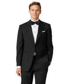 Black slim fit peak lapel tuxedo jacket